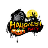 Happy Halloween party calligraphy and design element  on white b Stock Photo