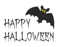 Happy Halloween vector party card with bat. Illustration isolated on white background Stock Photo