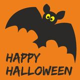 Happy Halloween party vector card with bat and wis. Happy Halloween party vector card with bat and hand drawn wishes Royalty Free Stock Image