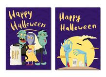 Happy Halloween party cards with cute zombies Stock Photos