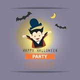Happy Halloween Party cartoon vampire with full moon and bats Royalty Free Stock Photos