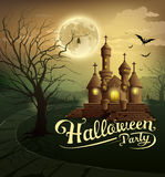 Happy Halloween party castles design background Stock Photo