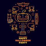 Happy Halloween Party Greeting Card Icons Symbol - Vector flat Royalty Free Stock Photography