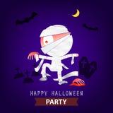 Happy Halloween Party mummy background design Royalty Free Stock Photo