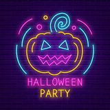 Happy Halloween party neon sign. Bright light banner. Holiday party signboard with pumpkin on brick wall background. Vector illustration vector illustration