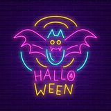 Happy Halloween party neon sign. Bright light banner. Holiday party signboard with bat on brick wall background. Vector illustration vector illustration