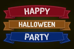 Happy Halloween Party. Halloween - pen style text on colorized ribbons Stock Photography
