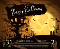 Happy Halloween party poster with spooky castle. On tree in mystic forest at night under full moon. Cartoon vector illustration. Halloween background with Stock Photography