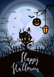 Happy Halloween party poster with spooky castle. On tree in mystic forest at night under full moon. Cartoon vector illustration. Halloween background with Stock Images