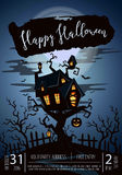 Happy Halloween party poster with spooky castle Royalty Free Stock Images