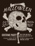 Happy Halloween Party Skull Flyer. Happy Halloween Party Flyer with Sugar Skull and Bones vector illustration