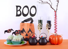 Happy Halloween party table Royalty Free Stock Photos