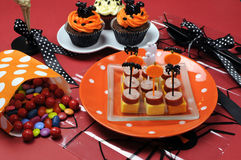 Happy Halloween party table Stock Photos