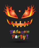 Happy Halloween party text design with face pumpkin Royalty Free Stock Photos