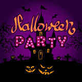 Happy Halloween party on violette background Royalty Free Stock Photography