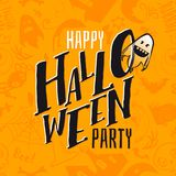 Happy Halloween party logo. Happy Halloween pattern and hand written lettering text logo with fun cartoon ghost. Vector illustration. Party Invitation, card Royalty Free Stock Image