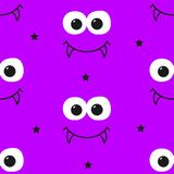 Happy Halloween pattern with stars, big eyes and vampire`s smile. Stock Photography