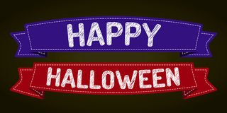Happy Halloween. Halloween - pen style text on colorized ribbons Royalty Free Stock Photography