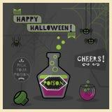 Happy Halloween - Pick your poison spooky dark cartoon card Stock Photography