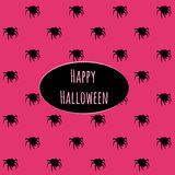 Happy Halloween on a pink background with spiders Royalty Free Stock Photos
