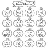 Happy Halloween - Plain Sticker Pumpkin. Vector Easy-To-Use 16 Line Emoticons Of Pumpkin As Sticker Different Facial Expressions On White Background With  Happy Stock Photo