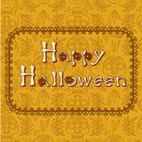 Happy halloween poscard. Happy halloween card with calavera skulls Stock Photos