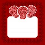 Happy halloween poscard. Happy halloween card with calavera skulls Stock Image