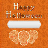Happy halloween poscard. Happy halloween card with calavera skulls Royalty Free Stock Image