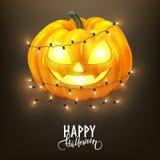 Happy Halloween postcard design, realistic pumpkin and decorative lights. Vector illustration vector illustration