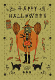 Happy halloween postcard invitation. Vector for web, postcards, greeting cards, invitations, pattern fills, surface textures. With young pretty witch, black cat Stock Image