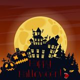 Happy Halloween postcard with pumpkins and scary horror house silhouette at night. Happy Halloween postcard with pumpkins and scary horror house silhouette at Royalty Free Stock Photography