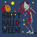 Happy Halloween. Postcard Happy Halloween with zombi Stock Image