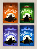 Happy Halloween postcards designs collection Royalty Free Stock Image