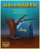 Happy Halloween Poster.Ancient tombstone .Vector illustration. Happy Halloween Poster.Ancient tombstone .A realistic fire.Vector illustration royalty free illustration