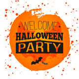 Happy Halloween Poster on bright watercolor background with stains and drops. Vector Illustration of Happy Halloween banner. With halloween elements. Bats Stock Photo