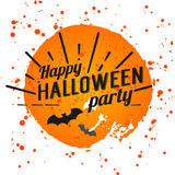 Happy Halloween Poster on bright watercolor background with stains and drops. Vector Illustration of Happy Halloween banner Royalty Free Stock Photo