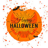 Happy Halloween Poster on bright watercolor background with stains and drops. Vector Illustration of Happy Halloween banner Royalty Free Stock Photos