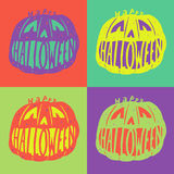 Happy Halloween. Poster, card, background or invitation in the style of Warhol Royalty Free Stock Photos