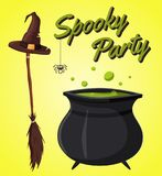 Happy halloween poster. Cartoon vector illustration. Royalty Free Stock Photography