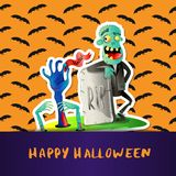 Happy Halloween poster with cute zombie. And monster hands in graveyard. Halloween event advertising with funny undead, festive carnival poster. Walking dead stock illustration