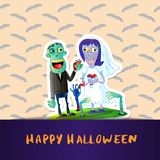 Happy Halloween poster with zombie wedding couple. Happy Halloween poster with cute zombie wedding couple in graveyard. Halloween event advertising with funny Royalty Free Stock Photo