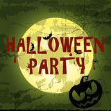 Happy Halloween Poster For Design.  Banner. Halloween Characters and Icons for Halloween in Cartoon Style on Moon Background Royalty Free Stock Photo