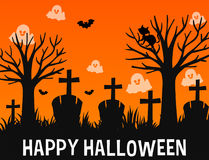 Happy Halloween poster design with ghosts in graveyard Royalty Free Stock Images