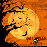 Happy Halloween Poster For Design. Vector. Vector Halloween Characters and Icons for Halloween in Cartoon Style on Moon Background Royalty Free Stock Image