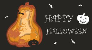 Happy Halloween poster design. Vector template with paper cut style symbols.  Royalty Free Stock Photo