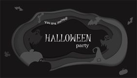 Happy Halloween poster design. Vector template with paper cut style symbols. Party invitation. Stock Photos