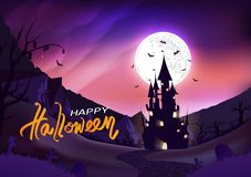 Happy halloween poster, fantasy silhouette concept horror story, night scene abstract background vector illustration. Happy halloween poster, fantasy silhouette stock illustration