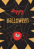 Happy Halloween poster greeting card. With modern brush calligraphy hand drawn lettering and holidays elements - web, spider, pumpkin fangs. Halloween postcards Stock Images