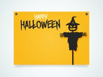 Happy Halloween Poster. Halloween scarecrow under the moonlight. Royalty Free Stock Photo