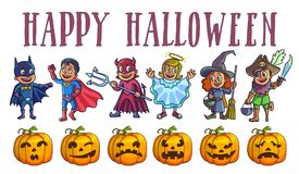 Happy halloween poster with kids in costumes and pumpkins. Happy halloween poster mysterious batman, strong superman, evil devil, cute angel, friendly witch, one Stock Photos